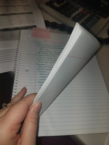 Re-writing notes took up almost half my notebook